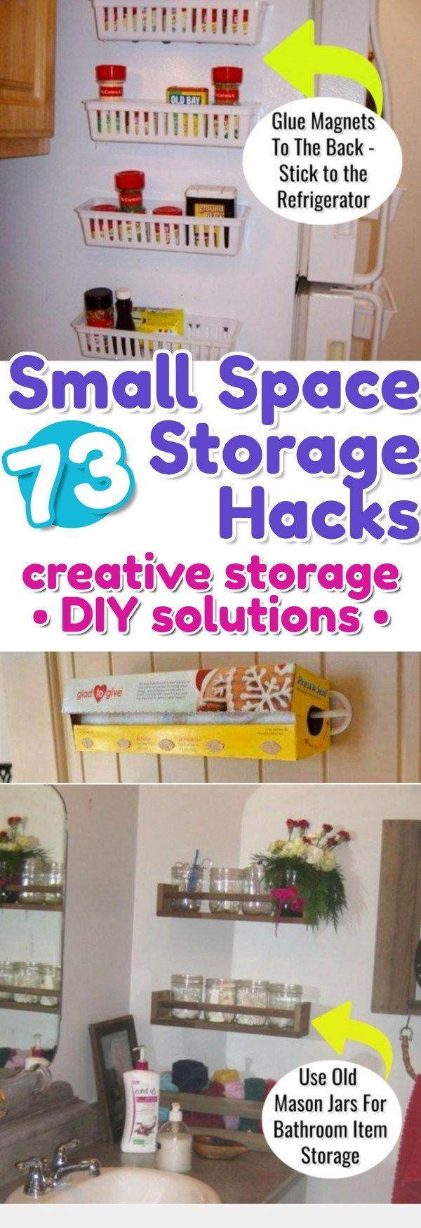 Storage hacks for small spaces - DIY storage solutions for small bedrooms, small kitchens, small apartments, small bathrooms, the garage and more