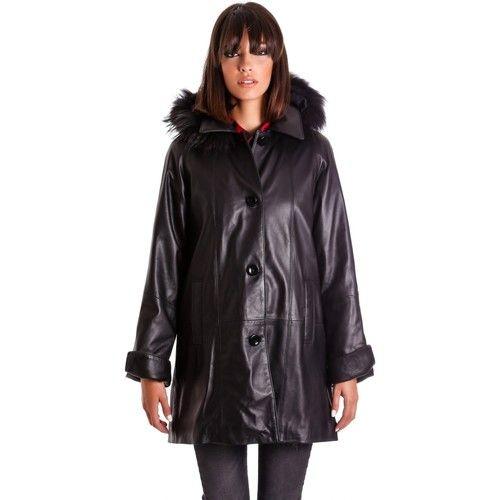 Abbigliamento Donna Giacche D'arienzo PAMELA • colore nero • cappotto in pelle con cappuccio in pellic Nero