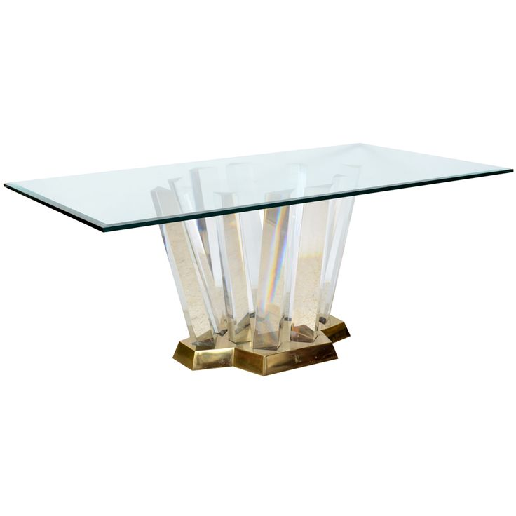 Karl Springer; Brass, Lucite and Glass Dining Table, 1970s.