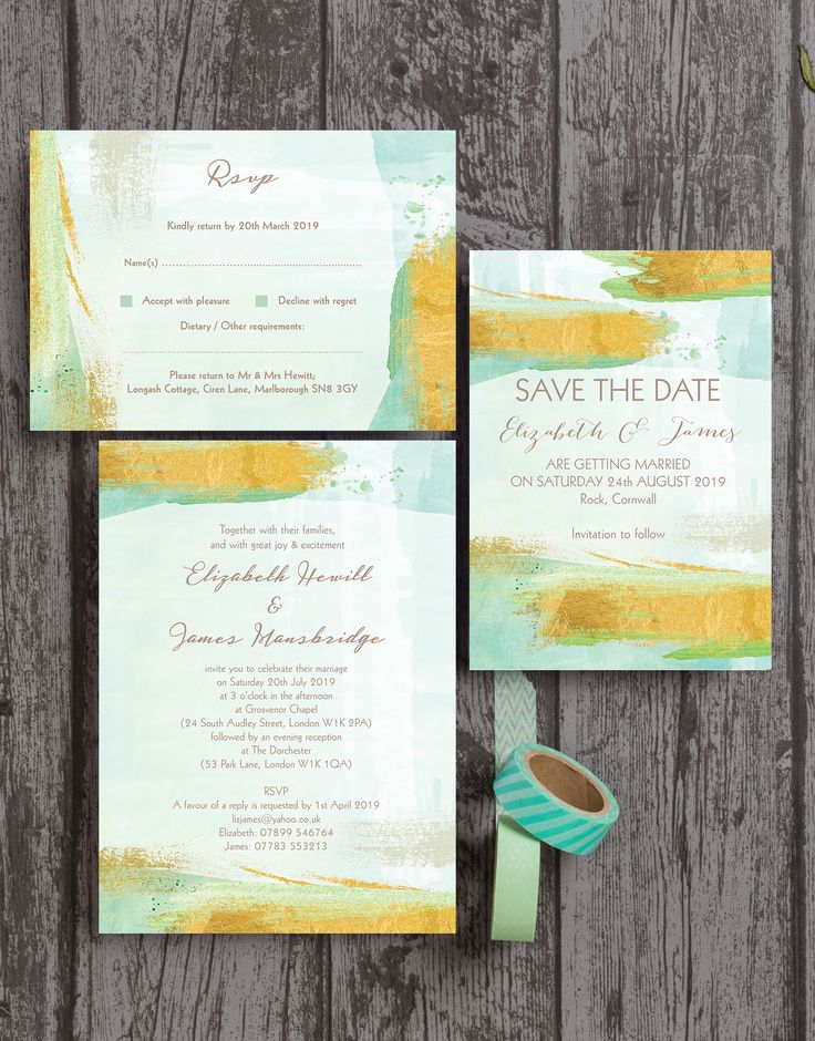 destination wedding invitation rsvp date%0A Mint green and gold watercolour   watercolor brush strokes modern wedding  stationery  The collection includes Save the Dates  Invitations   Invites