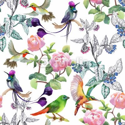 Materiał do szycia Watercolor hand drawn seamless pattern with beautiful flowers and colorful birds on white background.