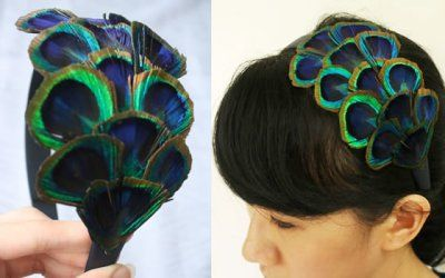 Trimmed peacock feather headband