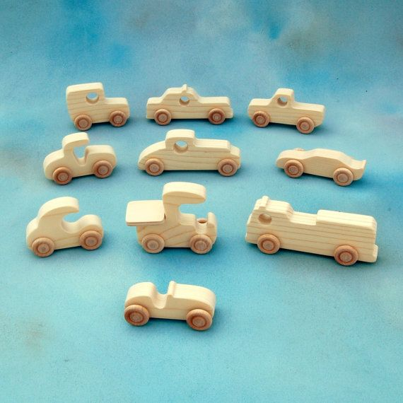 Wood Toy Cars and Trucks  Set of 10 Natural by nwwoodcrafters
