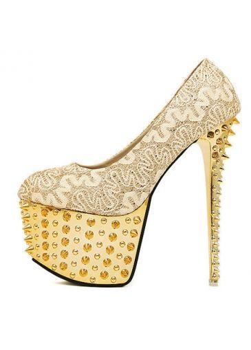 Luxury Gold Rivet Decoration Platform Super High Heels on sale only US$24.30 now, buy  Luxury Gold Rivet Decoration Platform Super High Heels at martofchina.com
