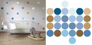 Klasické puntíky druhé generace  - modrá sada - samolepky na zeď - průměr 10 cm