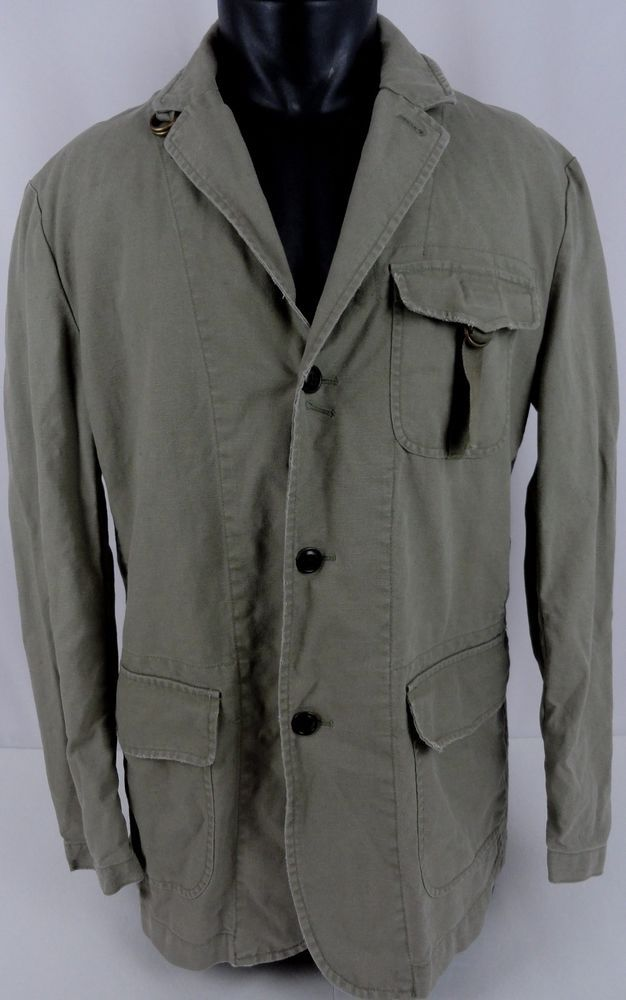 VTG Polo Ralph Lauren Canvas Rugged Jacket Blazer Olive Green Denim Mens Large #PoloRalphLauren #FieldJacket