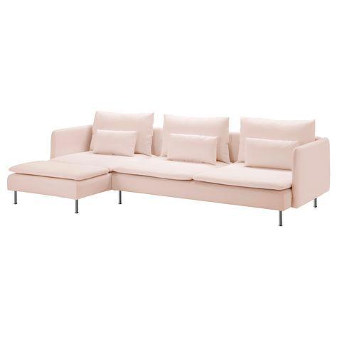 SÖDERHAMN 3'lü kanepe ve uzanma koltuğu samsta açık pembe  | IKEA Oturma Odaları