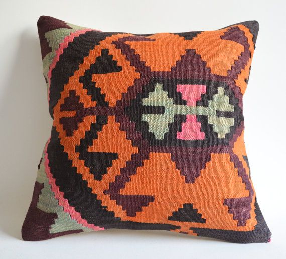 Handwoven Wool Vintage Tribal Turkish Kilim Pillow Cover. 16x16 inch orange via Etsy