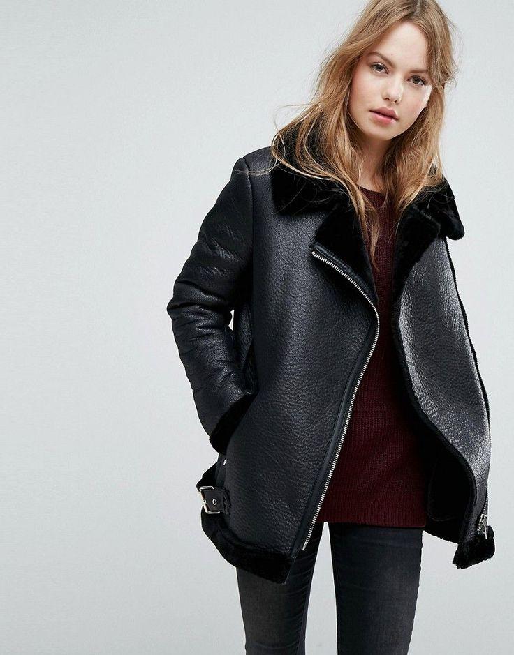 New Look Faux Shearling Suedette Aviator Jacket - Black