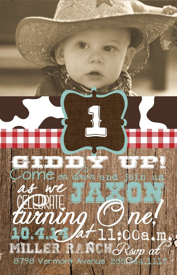 invitation words forst birthday party%0A Custom Cowboy Photo First Birthday Invitation