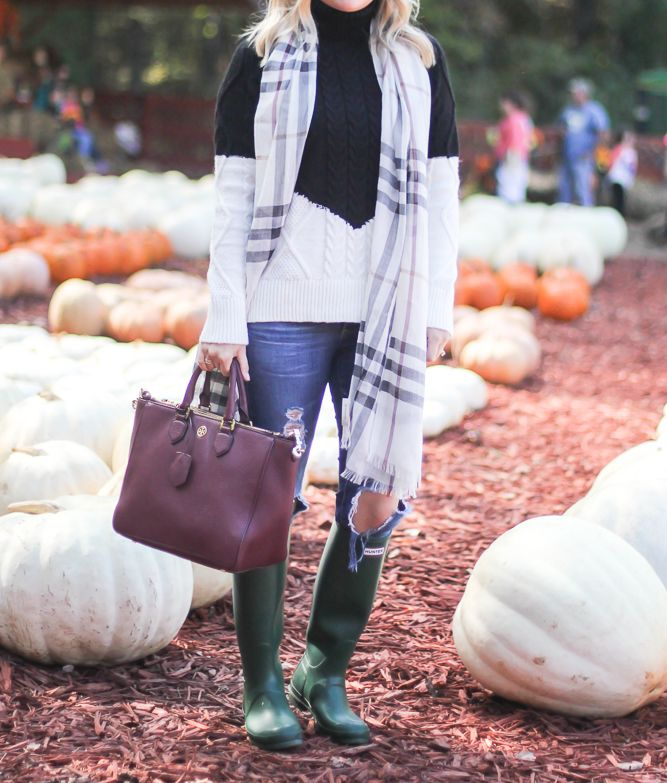 Green Hunter rain boots and white pumpkins, Burberry scarf, pumpkin patch outfit, cable knit sweater.