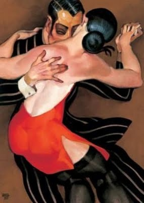Tango Dancers  by Juarez Machado (born 1941 in Joinville, Santa Catarina, Brazil) Brazilian painter. Studied fine arts: School of Art, state of Paraná, city of Curitiba. Has worked in illustration, theatre, television, sculpture, & gravure. Since 1986, has lived in Paris. http://www.artistsandart.org/search/label/Figurative%20painting?updated-max=2009-11-14T01:26:00-05:00=20=163=false