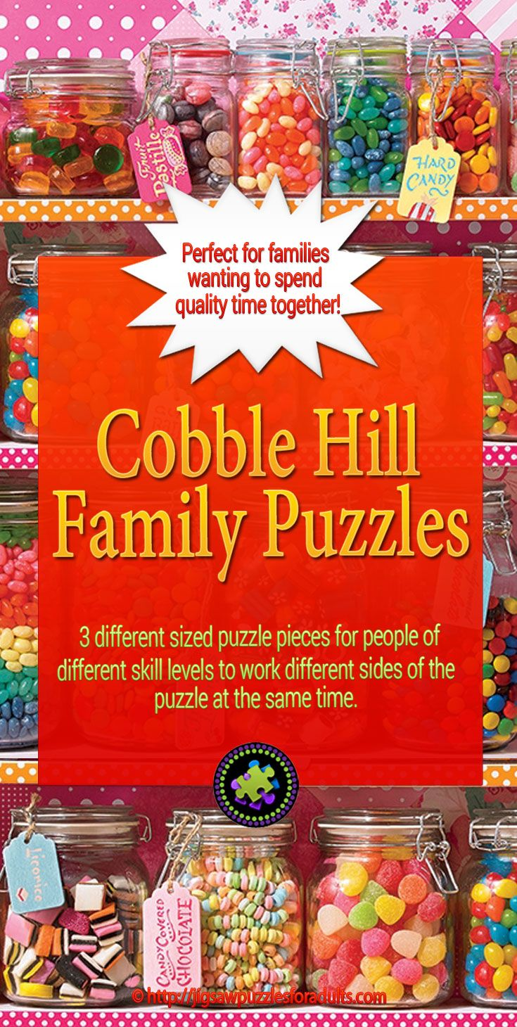 Cobble Hill Family Puzzles are 400 and 350 piece jigsaw puzzles that are a fantastic way to share a FUN pastime activity with the whole family. Family Jigsaw Puzzles are unique because each 400 and now 350 piece puzzle includes small, medium, and large size pieces in the same puzzle.