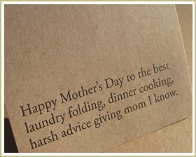 HAPPY MOTHER'S DAY card $3.50 - I know one mom who is getting this next year!