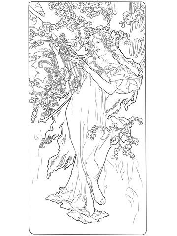 Spring By Alphonse Mucha Coloring Page From Category Select 21162 Printable Crafts Of Cartoons Nature Animals Bible And Many More