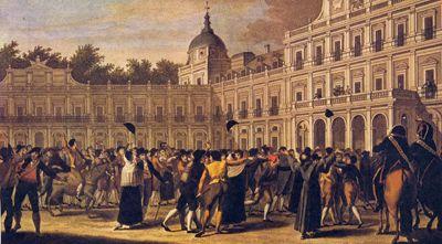 Pintura histórica que representa el motín realizado el 19 de Marzo de 1808 por los españoles en el Palacio de Aranjuez. Este motín fue una conspiración de Fernando VII contra los reyes y contra Godoy, que aprovechando el descontento de la población por la entrada de los franceses a la península (Tratado de Fontainebleu) y por el rumor del traslado de la familia real a Amércia, propició este motín que tuvo como consecuencia la destitución de Godoy y la proclamación como rey de Fernando VII.