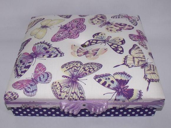Caixa Tecido roxo com Borboletas   Entrelaços Presentes   Elo7