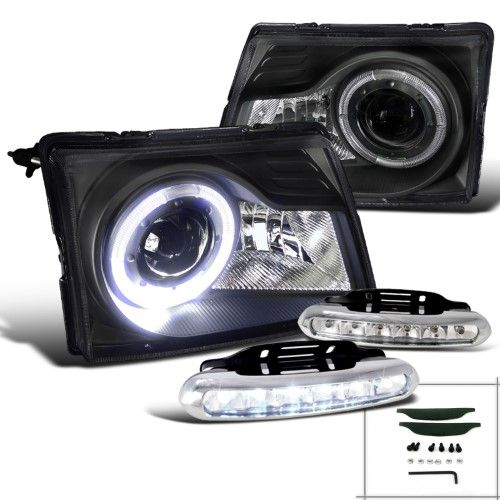 Spec D Tuning For 1998 2000 Ford Ranger Crystal Black Halo Projector Headlights Led Bumper Fog Lamps Left Right 1998 1999 2000 Ford Ranger Projector Headlights Led Fog Lights