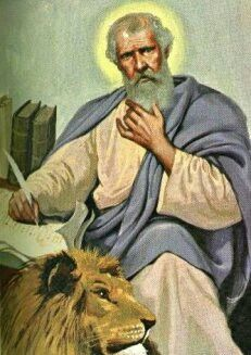 "St. Mark the Evangelist. Author of the Gospel of Mark. He has been long held by the Roman Catholic Church to be represented by one of the four living creatures (the lion), along with Matthew (man), Luke (calf), and John (eagle) of Revelation 4:6–8; like the six-winged Seraphim of Isaiah 6:2–4, these creatures constantly shout around the Heavenly Father's throne ""Holy, holy, holy is the Lord of hosts; the whole earth is full of His glory."" Mark said to have founded the Church of Alexandria…"