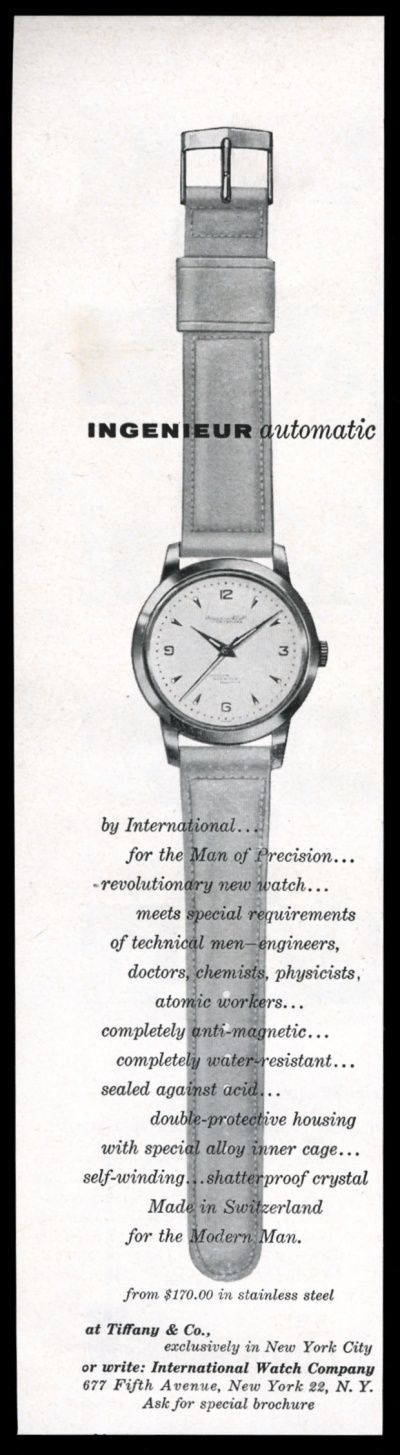1956 IWC Ingenieur Watch Vintage Print Ad. #iwc #ingenieur #automatic #watch #watches #vintage #ads #stawc