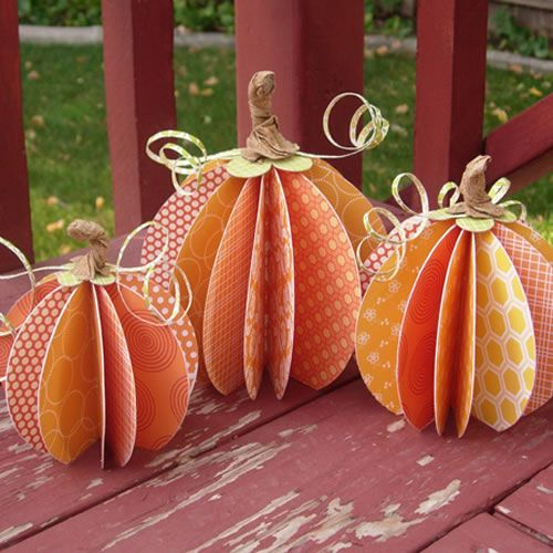 I have a trio of adorable scrapbook paper pumpkins to share with you.  Decorate your table or mantel for Halloween and Thanksgiving with these fun decorations.  You won't believe how easy they are to make!