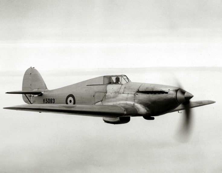 """Hawker Hurricane prototype, first flown by P. W. S. Bulman on the 6th November 1935. Powered by a 1,025 h.p. Rolls-Royce Merlin """"C"""" engine."""