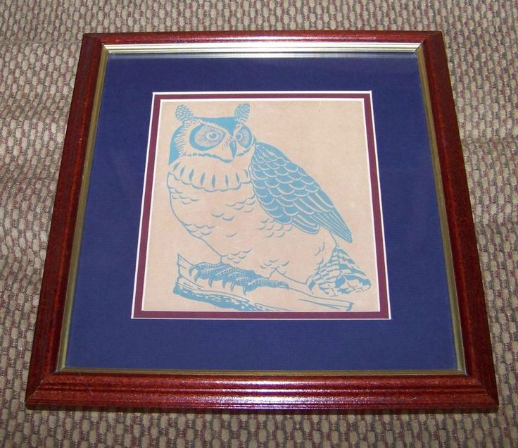 """Owl Picture Professionally Framed Art 13"""" x 12"""" Blue Burgundy Matted"""