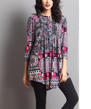 Purple & Blue Abstract Notch Neck Tunic #zulily #zulilyfinds