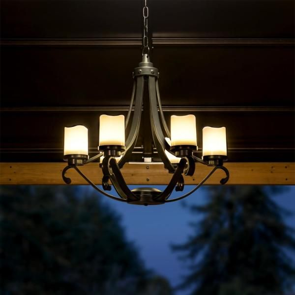 Oasis Collection Black Plastic Outdoor Chandelier With 6 Battery Operated Led Candles Outdoor Chandelier Gazebo Chandelier Gazebo Lighting