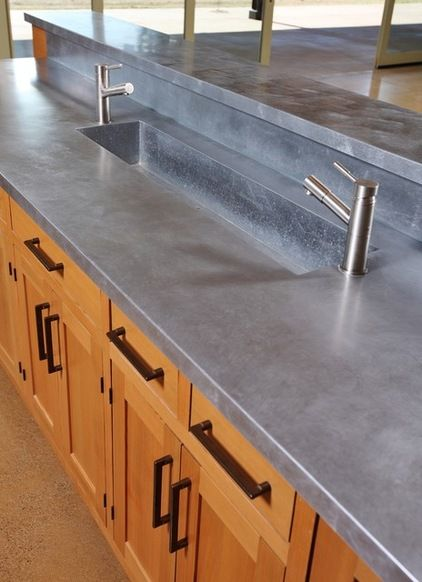 Great to see zinc noted among these low-maintenance countertop materials! farmhouse kitchen by Solid Form Fabrication