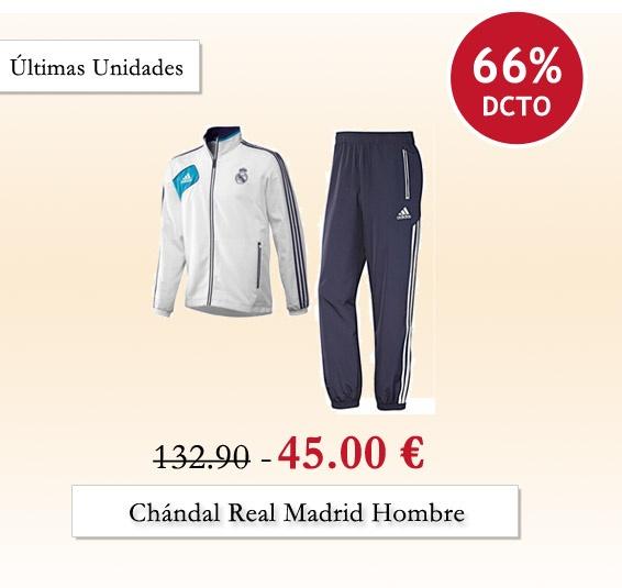 Chándal del Real Madrid 66% de descuento en nuestra tienda #outlet www.entretiendas.com  Entrega 48horas.