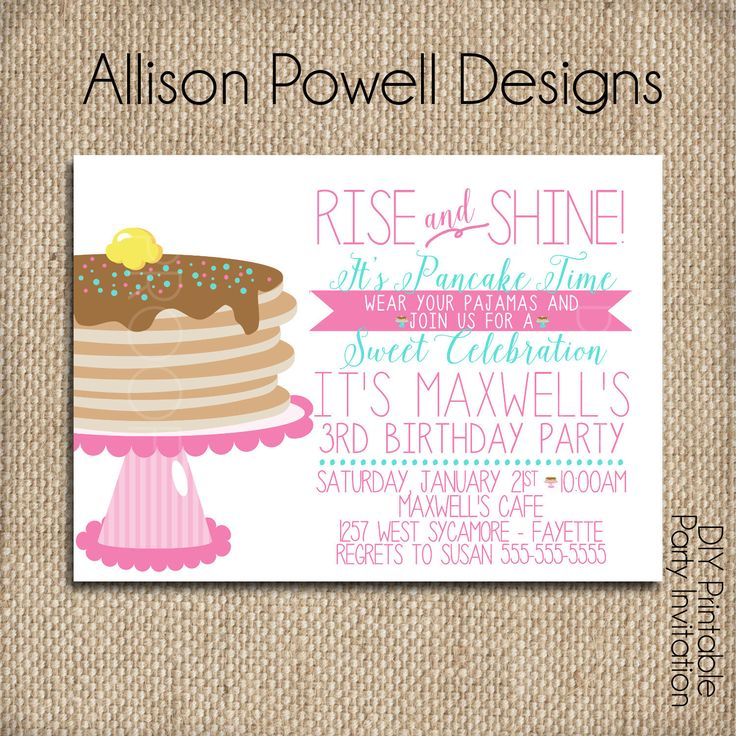 Pajamas and Pancakes Birthday Invitation, Breakfast, Pajama Birthday Party Invitation - Print your own by allisonpowelldesigns on Etsy https://www.etsy.com/listing/507444163/pajamas-and-pancakes-birthday-invitation