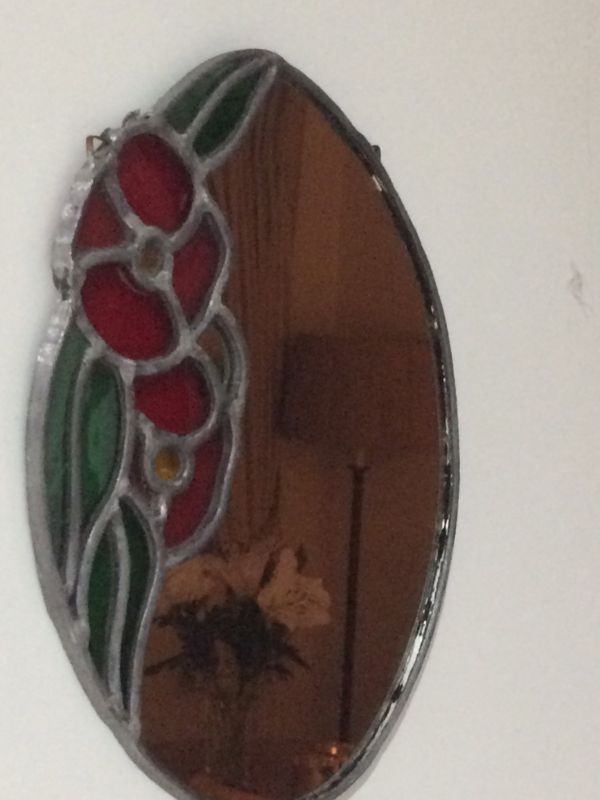 Handmade Mirror with Stained Glass Corner