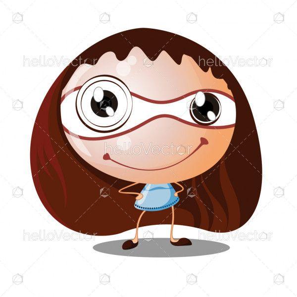 Fine Cute Smiling Cartoon Girl With Big Head Small Body Vector Schematic Wiring Diagrams Amerangerunnerswayorg