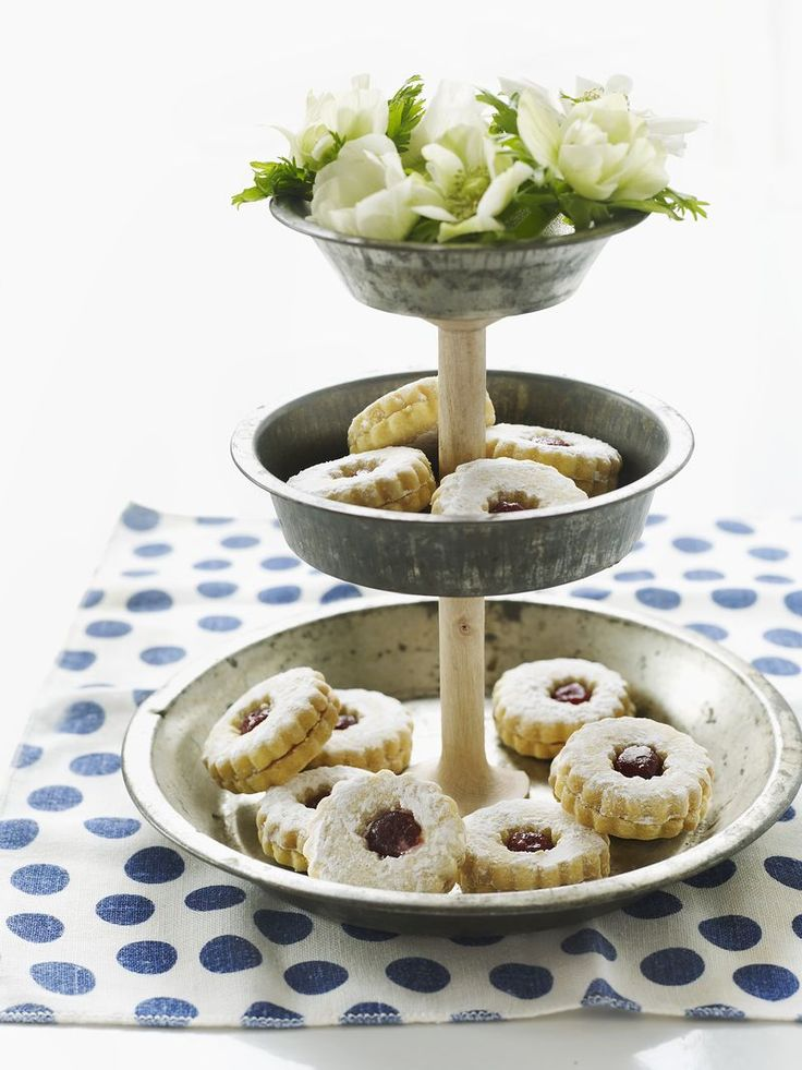 Vintage Tart Pan Cake Stands with Wooden Spools