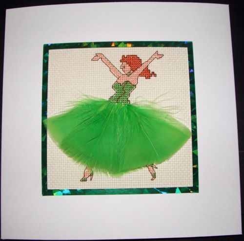 Completed-Cross-Stitch-Extra-Large-Card-Beautiful-Dancer-In-Green