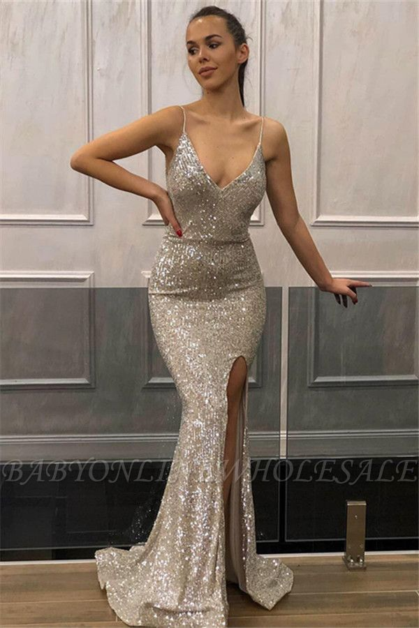 2a18037d193e2 Chic Mermaid Sleeveless Spaghetti-Straps Front-Slipt Prom Dress |  www.babyonlinewholesale.com