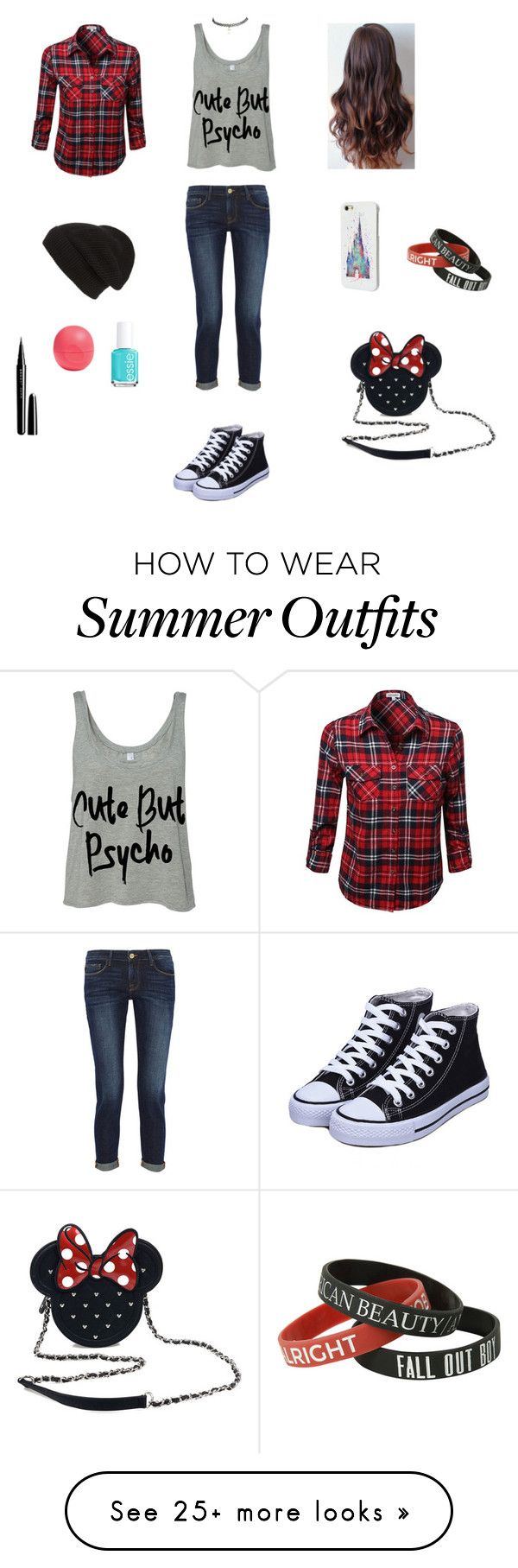 """Read D"" by trashchic on Polyvore featuring Frame Denim, Wet Seal, Disney, Loungefly, Eos, Essie, Marc Jacobs and Phase 3"
