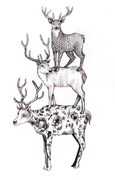 A pile of stags Art Print by Linn Warme | Society6