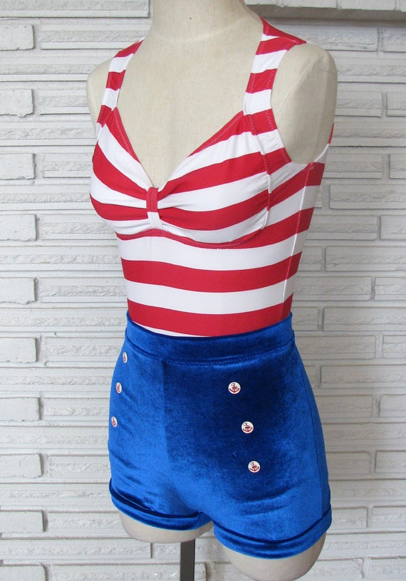 Pin Up Sailor Costume Aerial Bodysuit Leotard, size Small $90