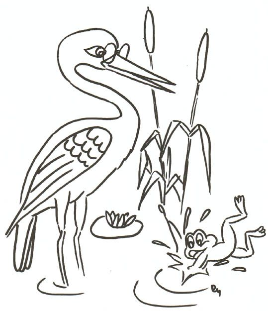bocian a žabka