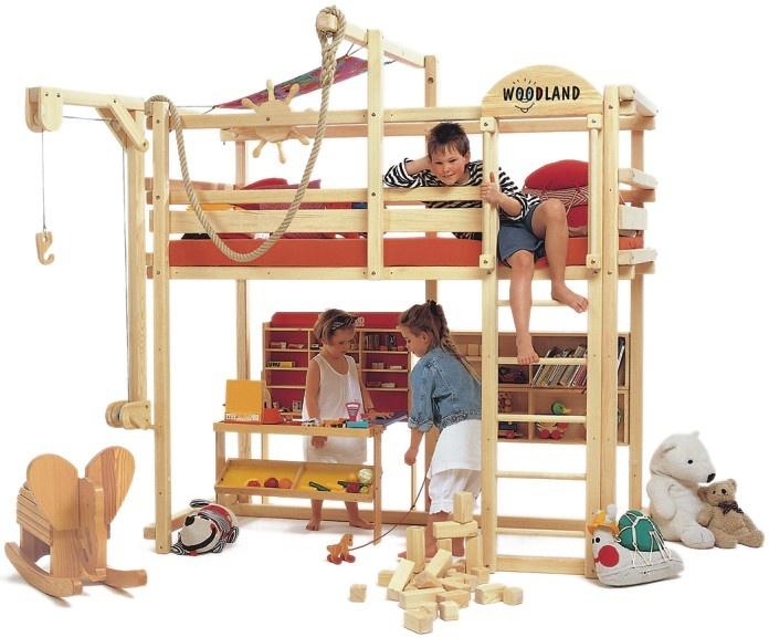 WOODLAND Mobili divertenti per bambini - Letto a soppalco ad altezza variabile…