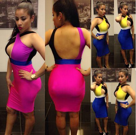 HOT-SALE-Women-Summer-dress-2014-Sexy-Bodycon-Dress-Backless-Lady-Sleeveless-Party-Bandage-Dress-Blue