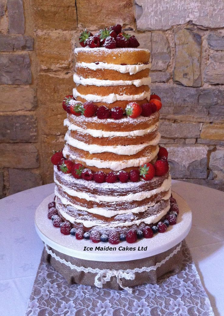 Cake Decorating Classes Dorset : Slender profile naked wedding cake with mixed berries ...