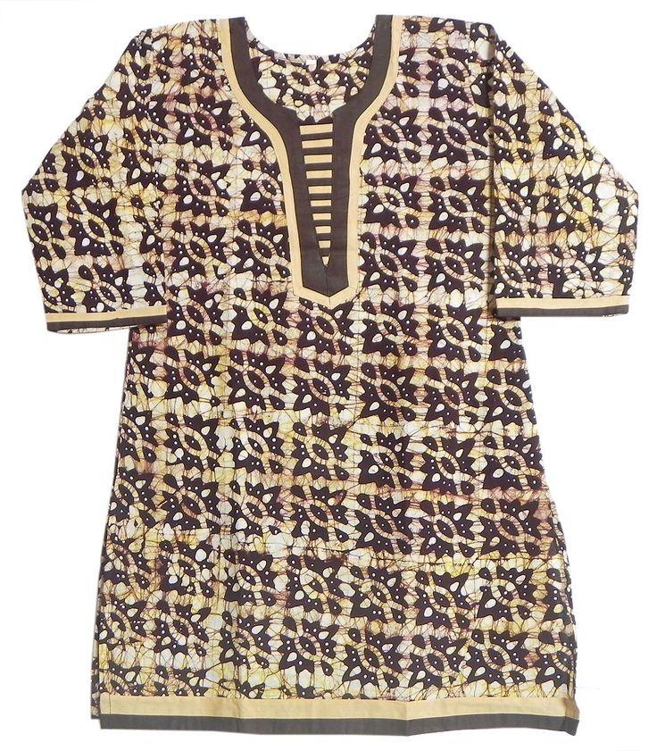 White and Yellow Printed Batik on Dark Brown Kurta with Three Quarter Sleeves (Cotton)