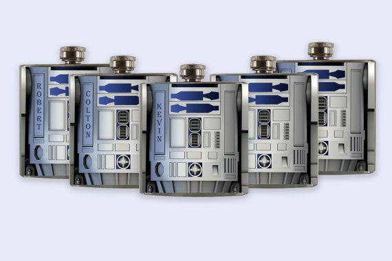 R2D2 r2d2 starwars Groomsmen Flask Set  custom Flask by RKGrace,
