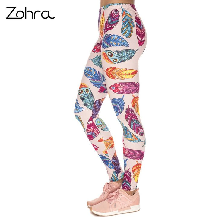 Women Legins Feathers Vibes Printing Blue Sexy Slim Legging Woman Leggings 3