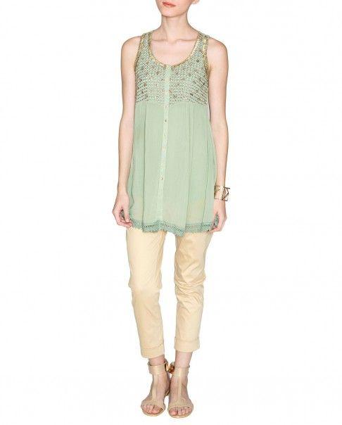 Pistachio Green Tunic with Golden Embellishments