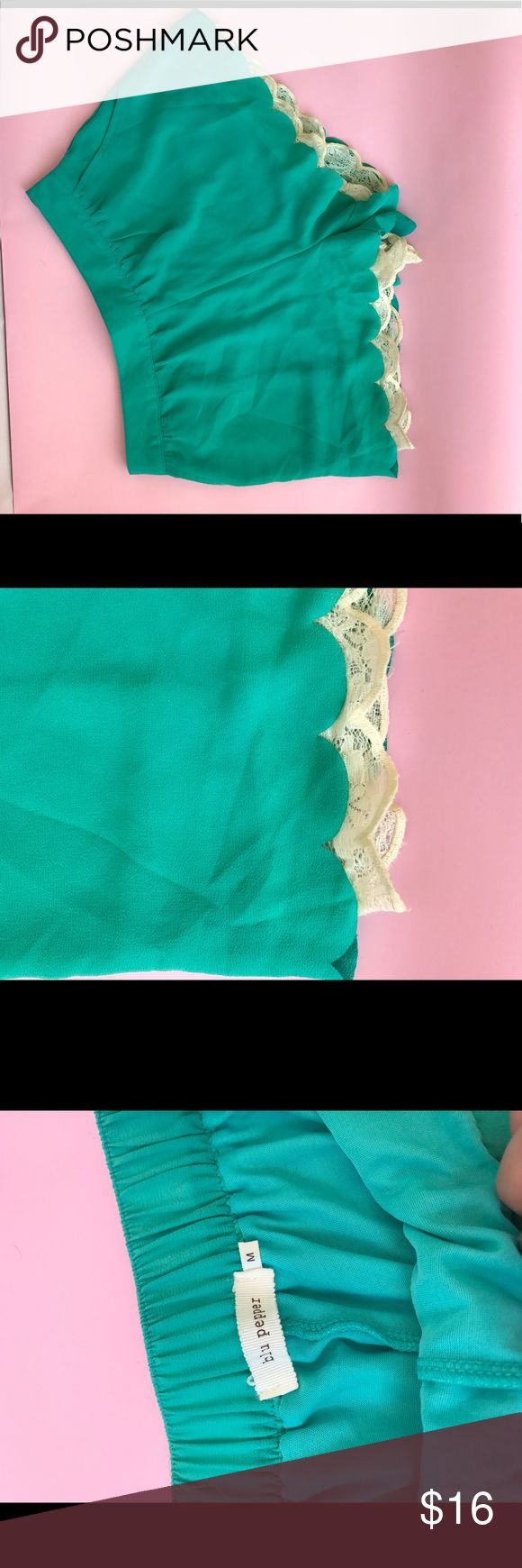 Turquoise shorts Turquoise shorts with lace detail on bottom from Francesca's size medium Blu Pepper Shorts