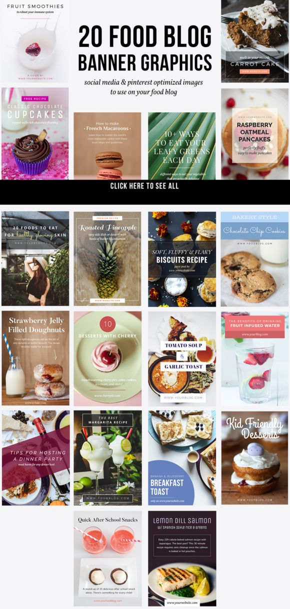 20 Food Blog Banner Graphics  by JannaLynnCreative on @creativemarket